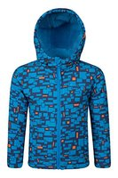 Mountain Warehouse Arctic Gemusterte Kinder Softshell jacke mantel warm Winter Schnee Ski Snowboard Kobalt 104