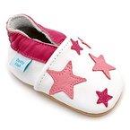 Dotty Fish Leder Babyschuhe - Baby Mädchen - weiß und hellrosa Sterne - 12-18 Monate (Gr. 21)