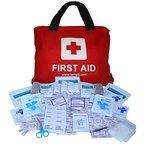 Erste-Hilfe-Set mit über 100 Teilen, für Reisen, Auto, zu Hause, Wohnwagen, Kampieren, Überleben und Arbeit. Beinhaltet Augendusche, CPR Maske (Beatmungsmaske), Rettungsdecke, Kühl Akku und vieles mehr.