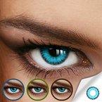Farbige Jahres-Kontaktlinsen CARIBBEAN Blue - MIT und OHNE Stärke in BLAU - von LUXDELUX® - mit Stärke (-2.00 DPT in Minus)