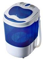 Mini Waschmaschine Waschautomat Camping Toploader mit Schleuder bis 3KG (Blau/ Weiss)