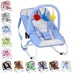 Infantastic Babywippe mit 3-Punkt-Sicherheitssystem mit stabilem Metallrohr-Gestell inkl. Spielbogen,  3 Spielzeuge, blau