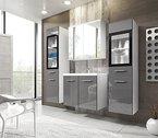 Badmöbel Set Udine II mit Waschbecken und Siphon, Modernes Badezimmer, Komplett, Spiegelschrank, Waschtisch, Hochschrank, Möbel (mit weißer LED Beleuchtung, Weiß / Grau Hochglanz)