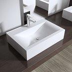 Aufsatzwaschbecken / Hängewaschbecken Brüssel118c, BTH: 45,5x31x10cm, in weiß, aus Keramik, eckiges Waschbecken