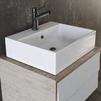 VILSTEIN© Keramik Waschbecken Hängewaschbecken Aufsatzwaschbecken Waschtisch rechteckig eckig weiss 50 cm