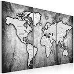 Bilder 120x80 cm - XXL Format - TOP Vlies Leinwand - 3 Teilig - Wand Bild Kunstdruck Wandbild - Weltkarte Kontinent Landkarte Karte k-A-0067-b-d 120x80 cm B&D XXL