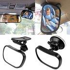 Starcrafter Auto Baby Spiegel Einstellbare Rückspiegel für Babyschalen mit Saugnäpfe und Klammer (85×50mm)