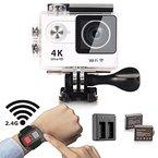 Action Kamera, YDI Wasserdicht Sportkamera Unterwasserkamera Action Camera Cam Camcorder 4K Ultra HD 1080P Wifi 12 MP 170 Weitwinkel-Objektiv mit Fernbedienung Uhr, 2 Batterien und Doppelbatterie insgesamt 23 Zubehör-Set (Weiß)