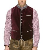 Stockerpoint Herren Trachtenweste Weste Alessio, Rot (Bordeaux), Large (Herstellergröße: 52)