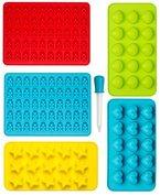 Gummibärchen Form Silikon Formen und Eiswürfelbereiter 6-Teiliges Set, Pralinenformen, Schokoladen-Formen, Herz-, Stern- und Muscheln-Formen für Kinder
