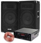 McGrey PA Komplettset DJ Anlage PowerDJ-1000 (System mit Partyboxen, Lautsprecher, 2 x 300 Watt, Bluetooth-Endstufe, Verstärker, Lautsprecherkabel)