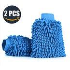 Aodoor (2er-Pack) Wasserdicht Mikrofaser Waschhandschuh, weicher Korallen Autowaschhandschuh zur Autowäsche Nudel Chenille Waschhandschuh Polierer Auto Motorrad 26 x 19 cm Blau