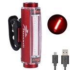 Jasonwell Strapazierfähiges LED-Fahrradrücklicht aus Aluminiumlegierung, wasserfest, superhell, per USB aufladbare Warnlampe fürs Fahrrad, Rücklicht fürs Radfahren (Rot)