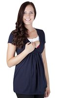 Mija - Umstandsmode / 2in 1 Stillshirt Umstandsshirt / Stilltop Umstandstop 7104 (L / EU40, Marineblau)