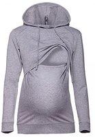 Happy Mama. Damen Kapuzenpullover Stillzeit Top Zweilagiges Sweatshirt. 272p (Grau Melange, EU 40, L)