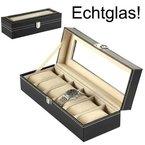 Uhrenkoffer Uhrenbox Schaukasten Uhrenkasten Uhrenvitrine für 6 Uhren Leder-Look