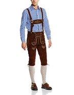 Gaudi-Leathers Herren Trachten Lederhose Kniebund mit Träger in Braun (Dunkelbraun 015), W39 (Herstellergröße: 52)