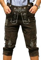 Trachten Lederhose aus echtem Leder Kniebundhose Größe 46-60 (52, Dunkelbraun)