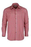 Trachtenhemd kariert in 6 Farben Gr. XS-XXXL mit Krempelärmeln Deutscher Hersteller (L, rot)