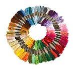 Stickgarn Embroidery Threads Nähgarne Stickerei Basteln Crafts Floss Set 50 Docken Sticktwist 8m 6-fädig Bunt Multicolor für Kreuzstich Basteln Freundschaftsbänder