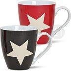 matches21 XXL Jumbo Tassen Becher Kaffeebecher 2 Stk. Set mit Sternen rot schwarz aus Porzellan hergestellt je 11 cm hoch / 500 ml