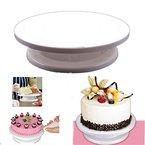 HENGSONG Kunststoff Tortenplatte Drehbar Tortenständer Fondant Kuchenplatte Ausstecher (Weiß)