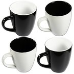 COM-FOUR 4 x Kaffeebecher Black & White, 325 ml, Porzellan, Kaffeetasse, Kaffeepott, schwarz & weiß, weiß & schwarz