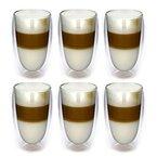 6x 450ml Doppelwandige Latte Machiatto Gläser 6er Set Thermo-Gläser - Kaffeeglas / Teeglas