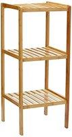 Relaxdays Badregal Bambus mit 3 Ablagen HBT: 79 x 33 x 33 cm Schickes Standregal aus natürlichem Holz Bambusregal als Küchenregal oder Holzregal zur Aufbewahrung und Lagerung im Badezimmer, natur