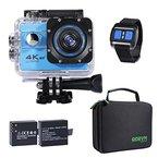 Action Kamera 4K Unterwasserkamera UHD WIFI mit Fernbedienung, 2 verbessert Akkus