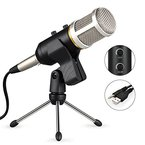 USB Kondensator Mikrofon, YIPIN 3.5mm Professionelle Studio Mikrofon mit Ständer Kondensatormikrofon Set (16mm Kapsel, Nierencharakteristik, 320Hz - 20KHz)