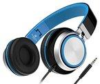 Sound Intone MS200, faltbarer On-Ear Hi-Fi Kopfhörer, 3.5mm Klinkenstecker(Schwarz/Blau)