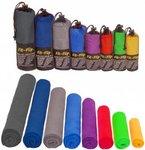 Mikrofaser Handtücher in ALLEN Größen / 12 Farben - klein, leicht und ultra saugfähig - das perfekte Sporthandtuch, Reisehandtuch, Microfaser-Badetuch, XXL Strandhandtuch, Sauna Microfaser Handtuch groß (80x160cm blau mit Aufdruck)