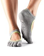Zehensocken Full-Toesox with GRIP BELLA in Grey with Lime trim M