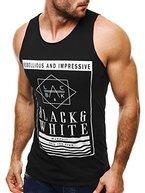 OZONEE Herren Tanktop Tank Top Tankshirt T-Shirt mit Print Unterhemden Ärmellos Weste Muskelshirt Fitness MADMEXT 1323 SCHWARZ M