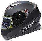 YEMA Helme YM-925 Integralhelme mit Doppelvisier-Schwarz Matt-M