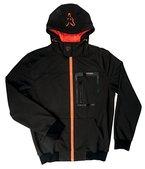 Fox Black / Orange Softshell Hoodie Angeljacke, Anglerjacke, Softshelljacke, wasserdicht & atmungsaktiv, Jacke für Angler, Größe:XL