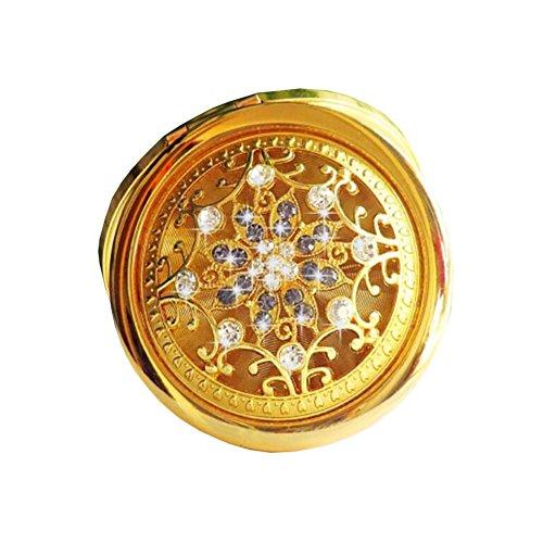 Tragbare Falten Make-up kosmetische Folding Travel Tasche Kompakt-Spiegel-Golden