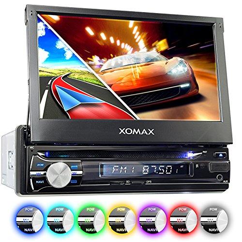 """XOMAX XM-DTSBN933 Autoradio / Moniceiver / Naviceiver mit GPS Navigation + Navi Software inkl. Europa Karten (38 Länder) + Bluetooth Freisprechfunktion + 7""""/ 18 cm Touchscreen Display in 16:9 HD Auflösung (800 x 480 px) + Codefree DVD / CD Player + USB Anschluss (bis 128 GB) + Micro SD Speicherkarten Slot (bis 128 GB) + MPEG4, MP3, WMA, AVI, etc. + Anschlüsse für Rückfahrkamera & Lenkradfernbedienung + Single DIN (1DIN) Standard Einbaugröße + inkl. GPS Antenne, Fernbedienung, Einbaurahmen"""