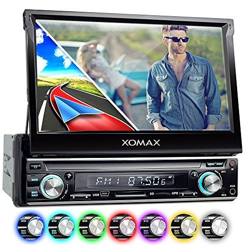 XOMAX XM-VRSUN740BT Autoradio mit GPS Navigation + Bluetooth Freisprechfunktion + 7 Zoll / 18cm Touchscreen Display in 16:9 HD + USB (bis 128 GB) + SD (bis 128 GB) + Anschlüsse für Subwoofer, Rückfahrkamera & Lenkradfernbedienung + Single DIN (1DIN) / Moniceiver / Naviceiver + inkl. Europa Karten 38 Länder