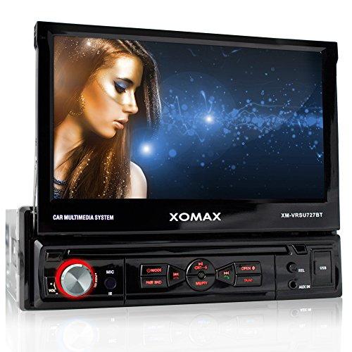 """XOMAX XM-VRSU727BT Autoradio / Moniceiver + Bildschirm ausfahrbar + 18 cm / 7"""" High Definition HD Touchscreen Display + Audio & Video: MP3 inkl ID3 TAG, WMA, MPEG4, AVI etc. + Bluetooth Freisprecheinrichtung & Musikwiedergabe via A2DP + Beleuchtungsfarbe rot + USB Anschluss bis 32 GB! + SD Kartenslot bis 32 GB! + RDS Radio Tuner + Rückfahrkamera Anschluss + Anschluss für Subwoofer + Single DIN (1 DIN) Standard Einbaugröße + inkl. Fernbedienung & Einbaurahmen"""