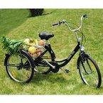 FANO-TEC Dreirad Für Erwachsene Behindertenfahrrad Erwachsenendreirad 24 Zoll Shimano 6-Gang-Kettenschaltung Neu FT-7009 Schwarz