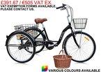 Jorvik 66cm Aluminium Erwachsene Dutch Style Dreirad, leicht, groß 66cm Rollen-verschiedene Farben erhältlich, Herren damen, schwarz, 66 cm