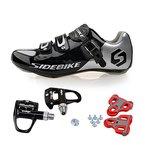 TXJ Rennradschuhe Fahrradschuhe Radsportschuhe mit Klickpedale EU Größe 44 Ft 27.5cm (SD-001 Silber / Schwarz)(pedale schwarz)