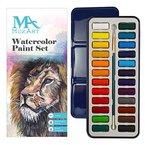 Aquarellfarbenset - 24 kräftige Farben - Leicht und tragbar - Perfekt für Hobbymaler und Profis - Mit Pinsel - MozArt Supplies