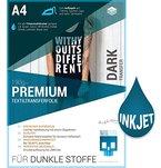 PREMIUM T-Shirt Textil-Transferfolie FÜR DUNKLE STOFFE Textilien DIN A4 zum aufbügeln und selbst gestalten - für Inkjet Tintenstrahldrucker (8 Blatt)