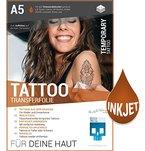 PREMIUM Tattoo-Transferfolie FÜR DIE HAUT - DIN A5 zum aufkleben und selbst gestalten - 6 Blatt für Inkjet Tintenstrahldrucker