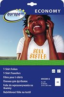 europe100 090389-6 T-Shirt Transferfolien für helle Textilien (A4, 6 Blatt) weiß