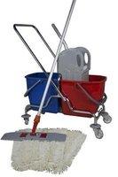 CleanSV Wischset 50 cm - Doppelfahrwagen Chrom / Reinigungswagen mit Presse, Mop Set: bestehend aus 3 Baumwollmop / Wischmop 50 cm , einem 50 cm Klapphalter mit Profi Telekopstiehl