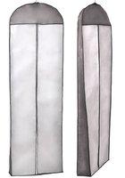 Atmungsaktiver Kleidersack Schutzhülle für Brautkleider / Abendkleider / Anzüge / Mäntel - ca. 180 cm - Reissverschluss - Weiß mit Schwarzer Rahme - Schwarz, KXB105 black